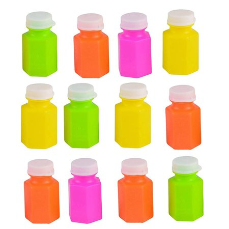Neon Bubble Bottles - 2 inches 0.6 ounce Colorful Mini Assorted Bubble Bottle (Pack of 12) - Small Carnival Prizes for Kids Bulk, Great Summer Party Favors, Birthday Parties Supplies (Carnival Prizes Bulk)