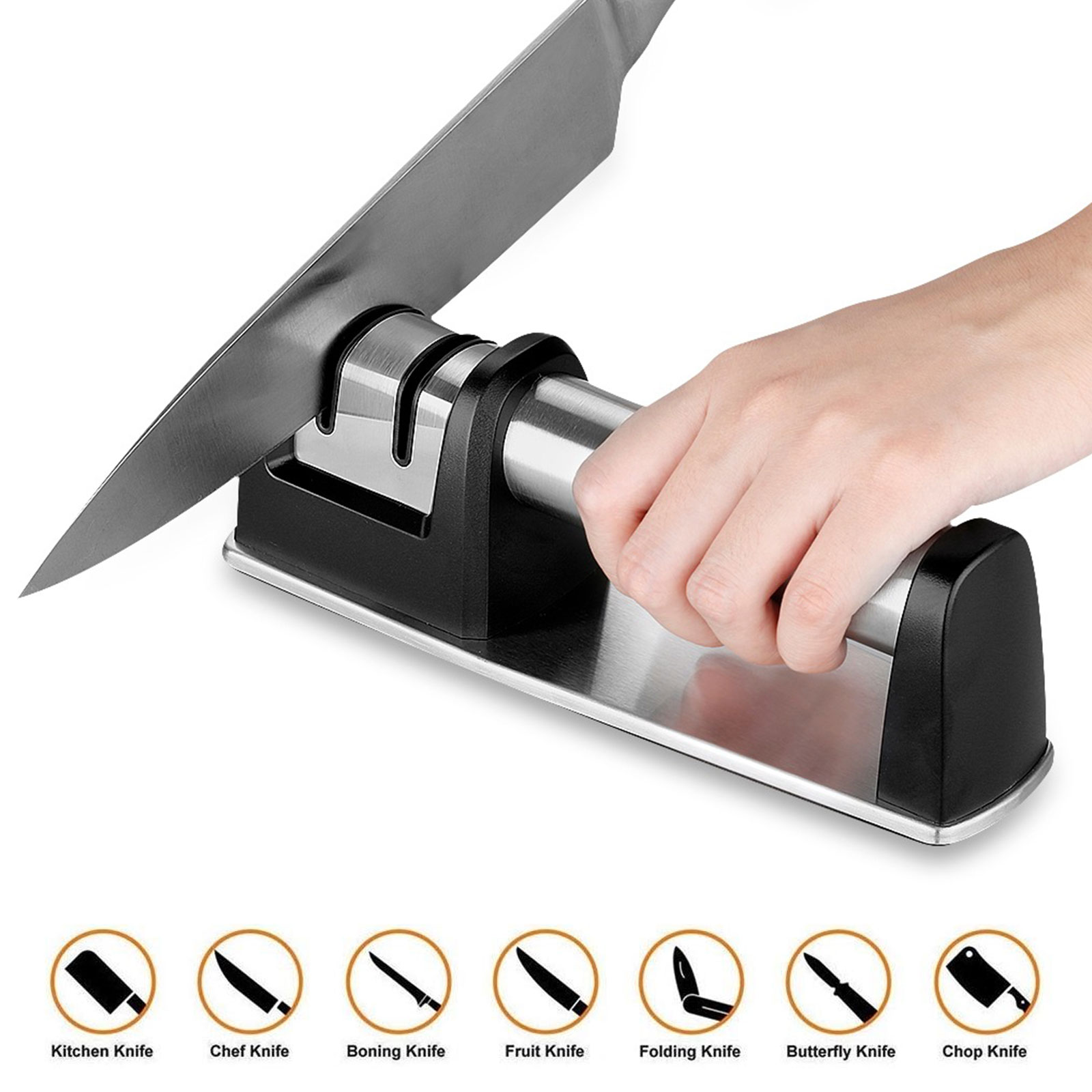 Professional Kitchen Knife Sharpener - 2-Stage Knife Sharpening Tool Helps Repair, Profession Knife Sharpening Tool, Restore and Polish Blades