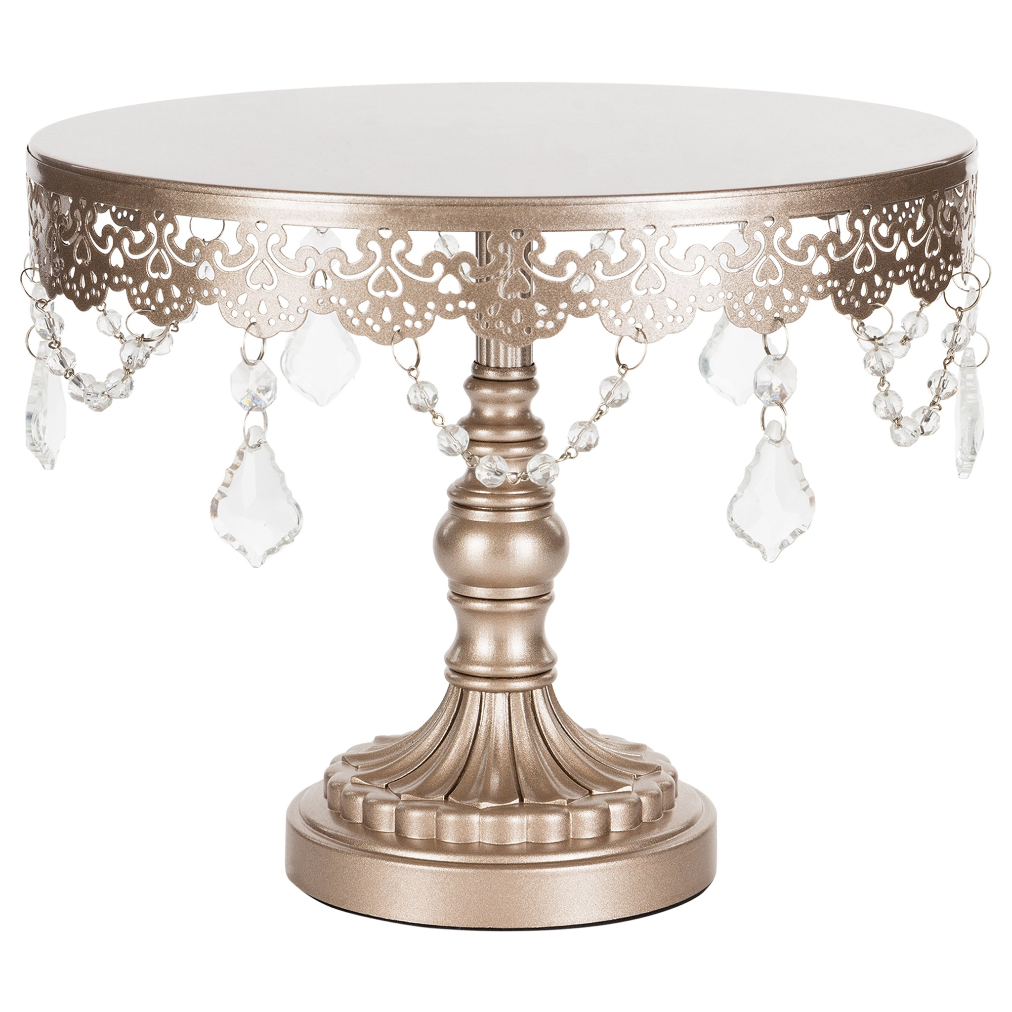 Amalfi Decor 10 Inch Crystal-Draped Round Metal Cake Stand (Lavender Purple) | Stainless Steel Frame by