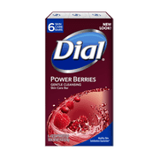 Dial Glycerin Bar Soap, Power Berries, 4 Ounce Bars, 6 Count