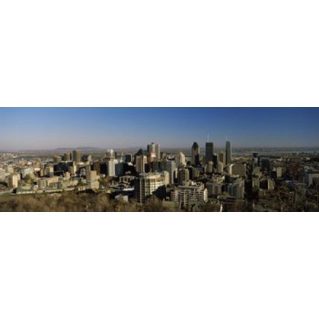 Aerial View Of Skyscrapers In A City From Chalet Du Mont Royal Mt Royal Kondiaronk Belvedere Montreal Quebec Canada Poster Print