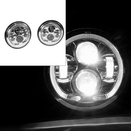 Jeep Wrangler 07-16 SUV U Halo LED Angel Eye Projector Headlight Chrome (Angel Eye Halo Projector Headlamps)