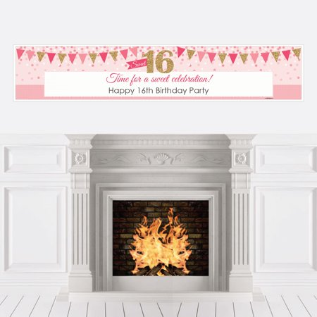 Sweet 16 - 16th Birthday Decorations Party Banner (Pink And Gold Sweet 16)