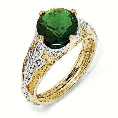 Sterling Silver Gold-Plated Glass Simulated Emerald & CZ Ring Size 6