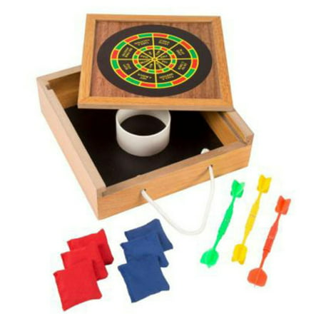Tabletop Magnetic Dart and Beanbag Toss Set – Wooden Classic Miniature Party Games with Carrying Case by Hey! Play! (Chess Board Carry Case)
