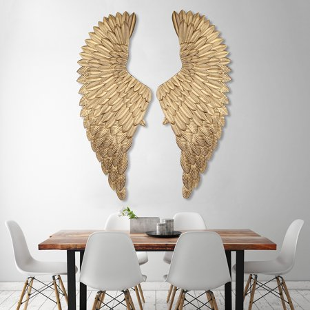 40 Large Shabby Metal Angel Wings Gold Chic Wall