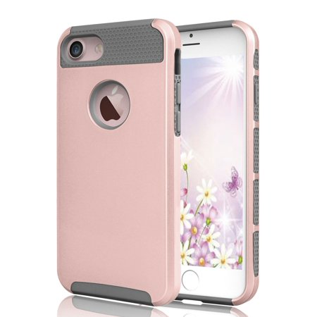 meet 210be 70dac iPhone 8 Case, iPhone 7 Case, Njjex Shock Absorbing Protective Case Hard  Hybrid Defender Glossy Cover For Apple iPhone 8 / 7 4.7 Inch -Rose Gold/Gray