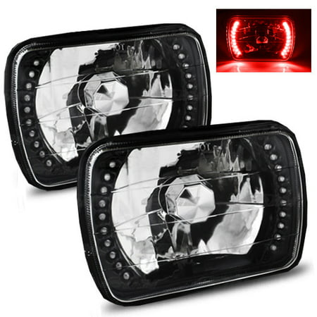 1985-2005 GMC Safari 7x6 H6052/H6054 Semi-Sealed Beam Black Diamond Red LED  Headlights 2000 Gmc Safari Headlight