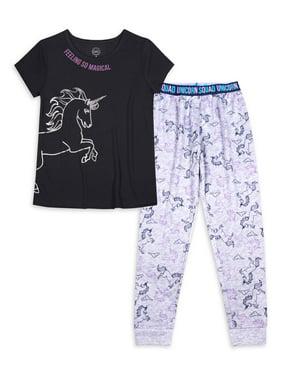 Wonder Nation Girls Exclusive 4-16 & Plus 2-Piece Set with Graphic T-Shirt & Matching Lightweight Pajama Jogger Pants