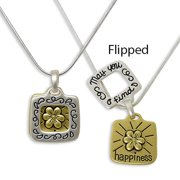 Happiness Filigree Flower May You Find What Your Heart Desires & What You Deserve Chain Necklace