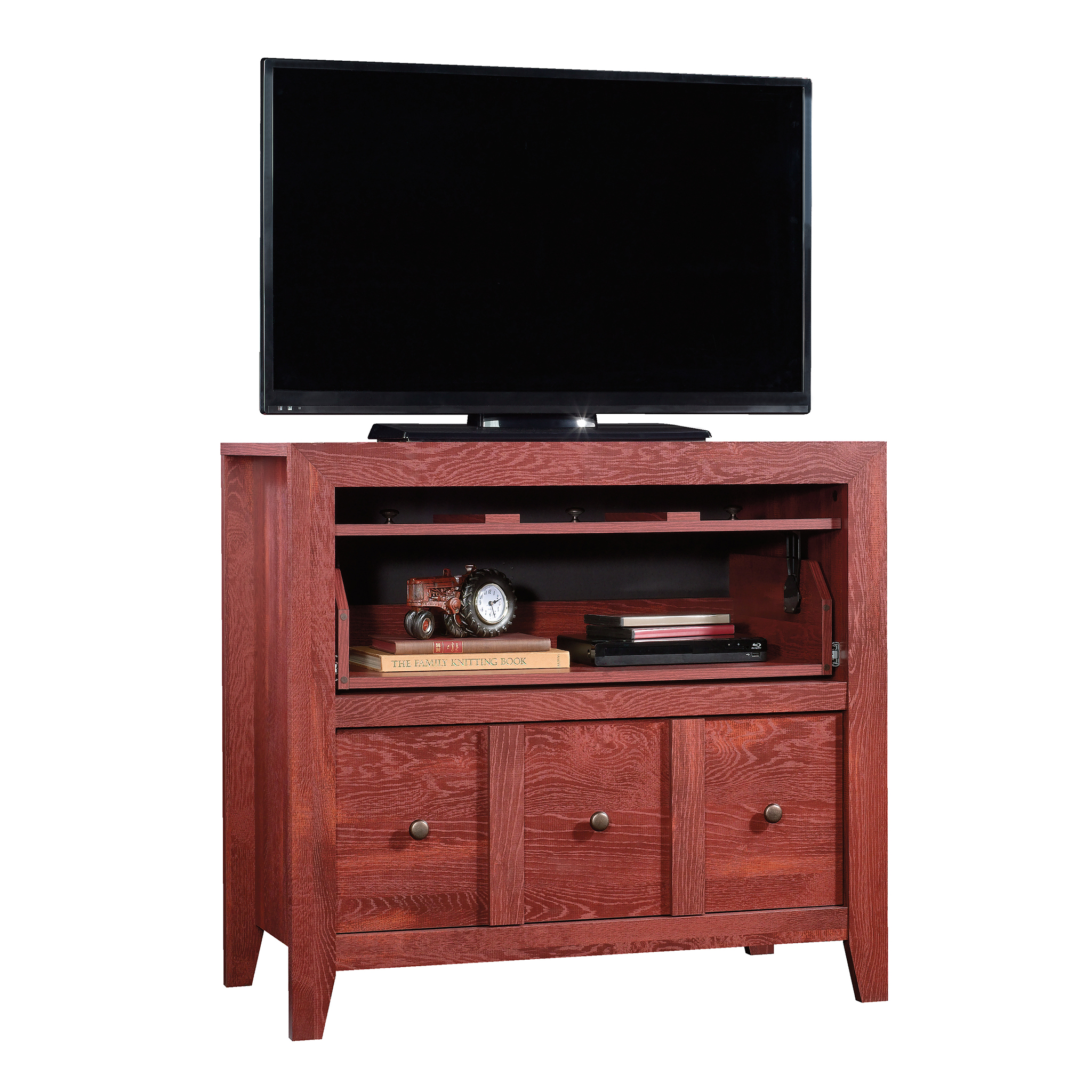 "Sauder Dakota Pass Console with File for TVs up to 42"", Fiery Pine Finish"