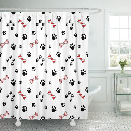 PKNMT Cute Cartoon Dog Paw Trails And Candy Cane Polyester Shower Curtain 60x72 Inches