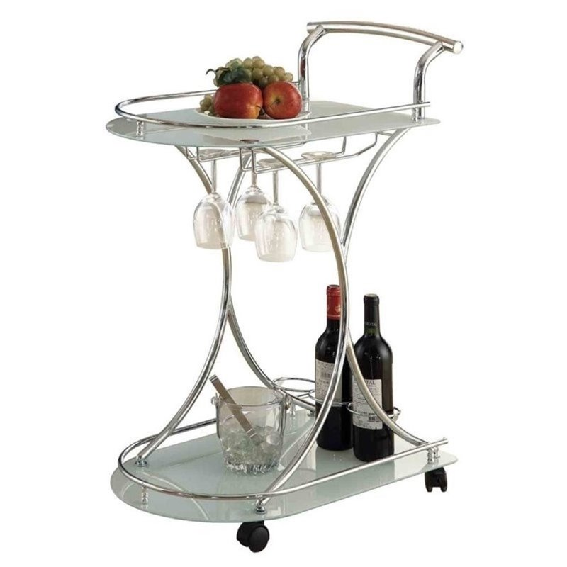 Bowery Hill Serving Cart with 2 Frosted Glass Shelves in Light Chrome by Bowery Hill