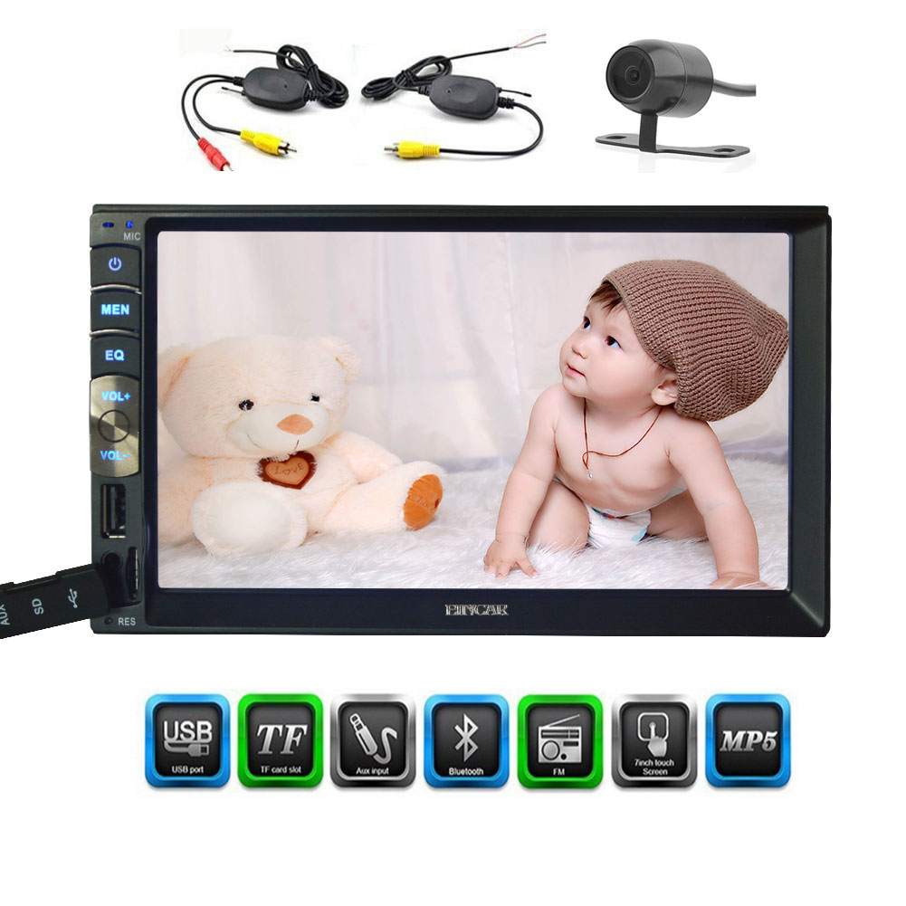 Rear View Camera EINCAR Double 2 Din In Dash Car headunit Stereo MP5 Player 7 Inch Capacitive Multi-Touch Screen FM Radio Video Player no-dvd Support Bluetooth//USB//SD//TFT+Remote Control