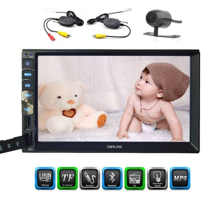 In Dash 7 Inch Capacitive Multi-Touch Screen Double 2 Din car Stereo Head Unit Bluetooth AM/FM No-DVD Player Radio Receiver Mirror Link for Android GPS Navigation Phones with Wireless Backup