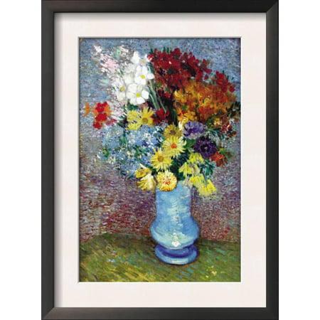 Flowers In A Blue Vase Framed Art Print Wall Art By Vincent Van Gogh