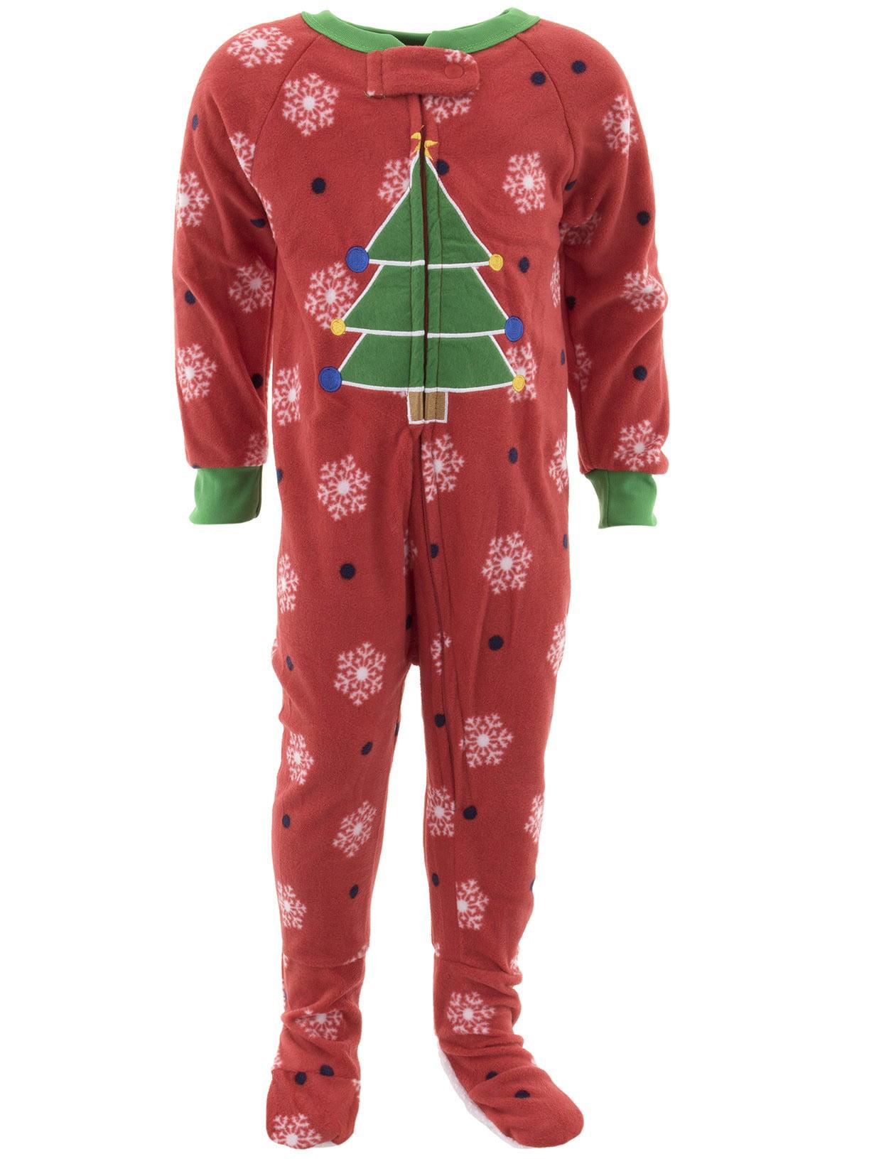 Mon Petit Boys Christmas Tree Red Footed Pajamas