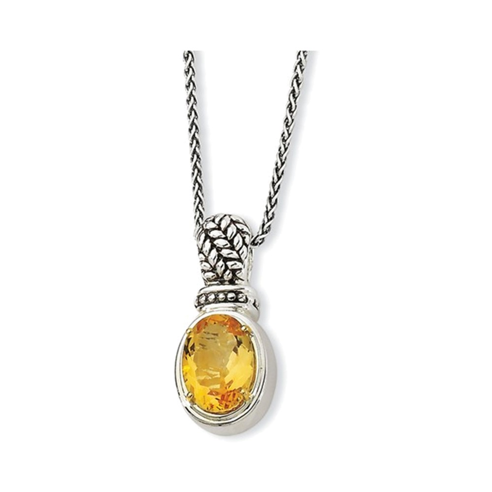 Sterling Silver w 14k Citrine Necklace by