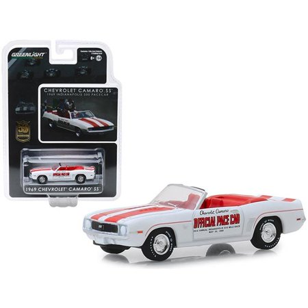 1969 Chevrolet Camaro SS Convertible Pace Car White Mario Andretti 50th Anniv. Indianapolis 500 Champion 1/64 Greenlight 1969 Trans Am Convertible