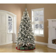 Holiday Time Pre-Lit 7.5' Winter Frost Pine Artificial Christmas Tree, Green, Clear Lights