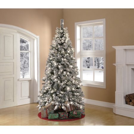 time pre lit 7 5 winter pine artificial tree green clear lights
