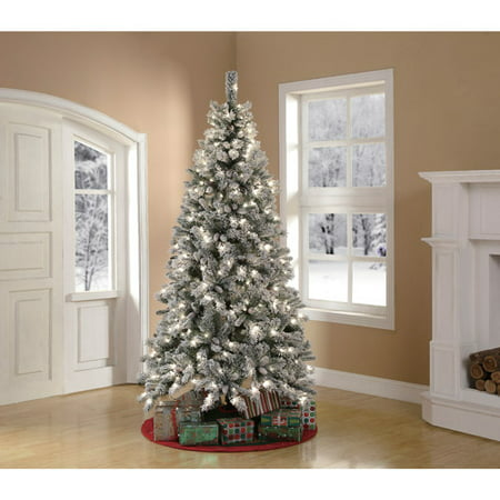 artificial christmas tree pre lit 75 winter frost pine green clear lights - 10 Artificial Christmas Tree