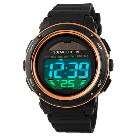 SKMEI Solar Powered Digital Men Women Sports Watch Big Dial 5ATM Water-resistant Multi-function Unisex Wristwatch with Chronograph Alarm Backlight Chronograph Round Wrist Watch