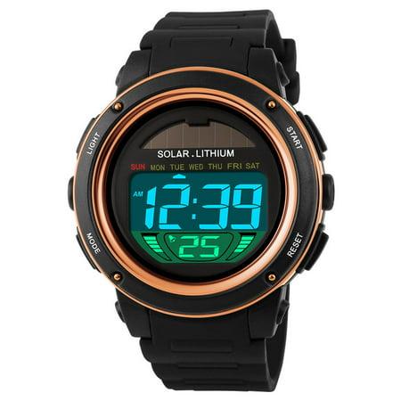 SKMEI Solar Powered Digital Men Women Sports Watch Big Dial 5ATM Water-resistant Multi-function Unisex Wristwatch with Chronograph Alarm