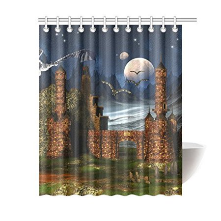 BSDHOME Fantasy Scene With A Castle And DragonsShower Curtain Bathroom Decor 60x72 Inch - image 2 of 2