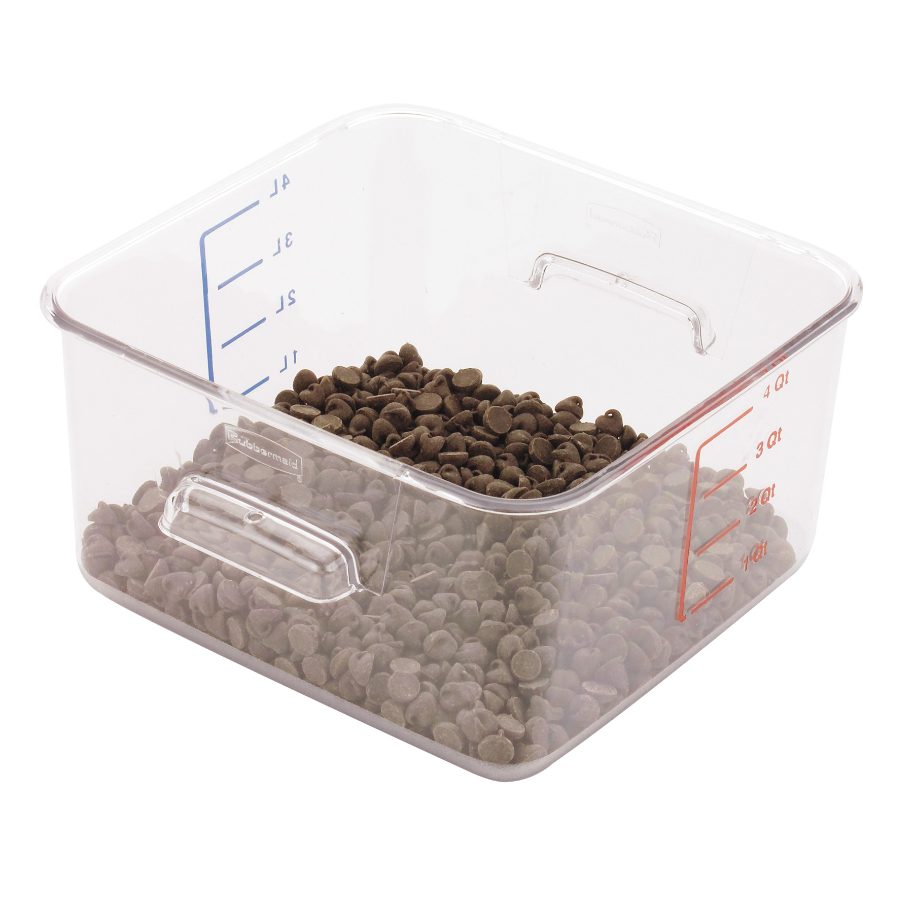 Rubbermaid Commercial SpaceSaver Square Containers, 4qt, 8 4/5w x 8 3/4d x 4 3/4h, Clear -RCP6304CLE