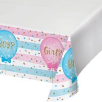 """Creative Converting Gender Reveal Balloons Plastic Tablecover Border Print, 54"""" X 102"""""""