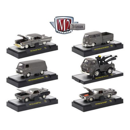 M2 MACHINES 1:64 TITANIUM - RELEASE 1 ASSORTMENT GREY 6PCS 32600-TI01 - 1957 CHEVROLET BEL AIR - TITANIUM VW DOUBLE CAB TRUCK/ FORD ECONOLINE/DODGE L600 TOW TRUCK/ PLYMOUTH HEMI CUDA/ DODGE SUPER (Ford Double Cab)