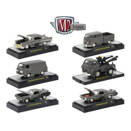 M2 MACHINES 1:64 TITANIUM - RELEASE 1 ASSORTMENT GREY 6PCS 32600-TI01 - 1957 CHEVROLET BEL AIR - TITANIUM VW DOUBLE CAB TRUCK/ FORD ECONOLINE/DODGE L600 TOW TRUCK/ PLYMOUTH HEMI CUDA/ DODGE SUPER BEE