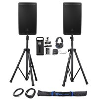 "(2) JBL EON612 12"" 2000 Watt Powered DJ PA Speakers+Stands+Cables+Mic+Headphones"