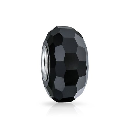 Solid Black Faceted Murano Glass 925 Sterling Silver Core Spacer Bead Fits European Charm Bracelet For Women For Teens ()
