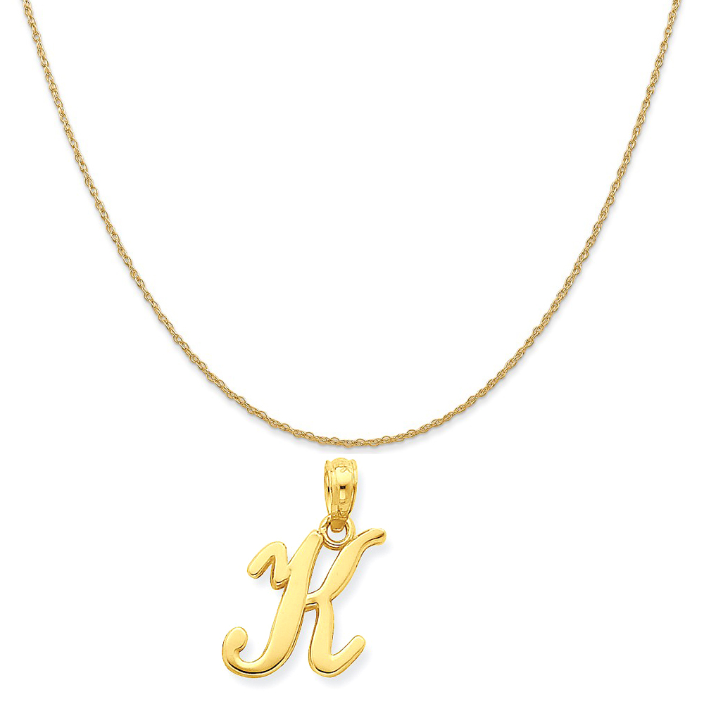 """14k Yellow Gold K Script Initial Pendant on a 14K Yellow Gold Rope Chain Necklace, 20"""""""