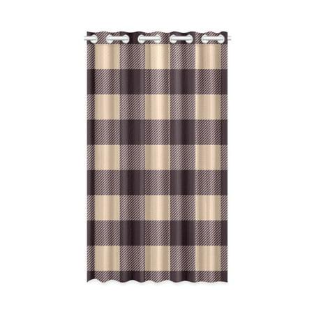 MKHERT Beige Brown Buffalo Check Lumberjack Plaid Window Curtain Living Room,Bedroom Window Drapes 52x84 - Plaid Lining