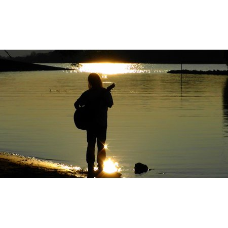 Canvas Print Musician Guitarist Silhouette Twilight Musical Stretched Canvas 10 x