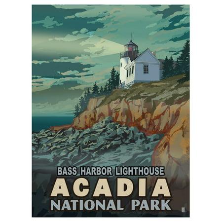 Bass Harbor Lighthouse Acadia National Park Travel Art Print Poster by Mike Rangner (9