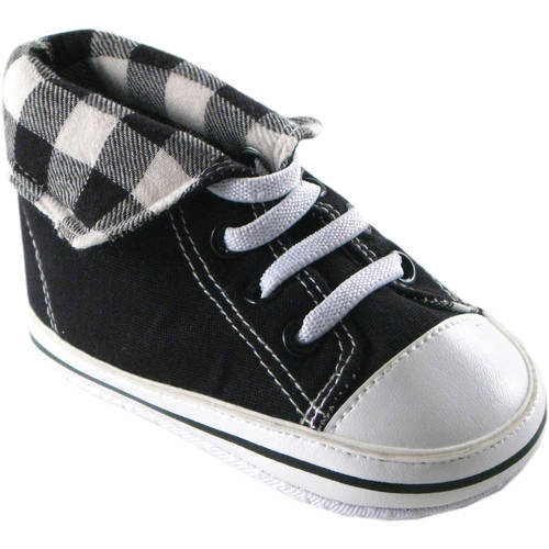 Luvable Friends Newborn Baby Boys Fold-Down Hi-Top Sneakerss