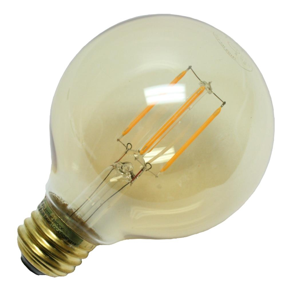 Luminance 86962 - 2 watt 120 volt G25 Medium Screw Base Nostalgic Globe Antique Amber Dimmable LED Filament (L7582)