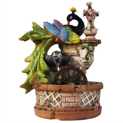 Sintechno Resin Elegant Peacock Resting on Ivy Column with Water Wheel Tabletop Fountain by Overstock