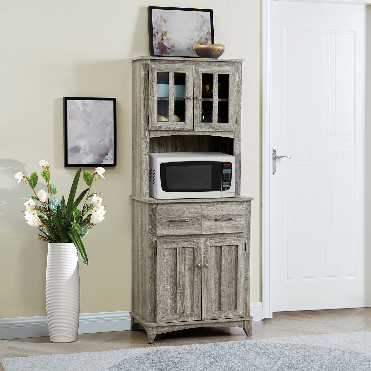 Gramercy Way Gray Microwave Stand with Top and Bottom ...