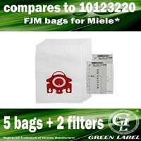 5 Bags + 2 Filters for Miele HyClean FJM 3D Efficiency Dustbags for Compact Vacuum Cleaners (compares to 10123220). Genuine Green Label product.