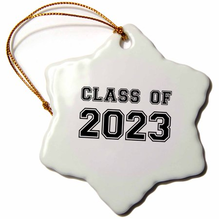 3dRose Class of 2023 - Graduation gift - graduate graduating high school university or college grad black - Snowflake Ornament, 3-inch for $<!---->