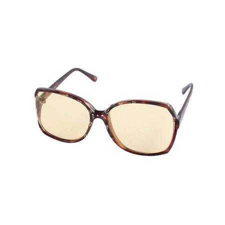 Women Plastic Flower Printed Full Frame Rectangle Lens Sunglasses (Plastic Brown Lens)
