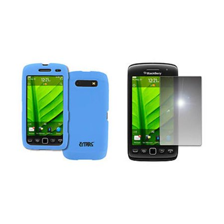 EMPIRE BlackBerry Torch 9860 9850 Light Blue Rubberized Hard Case Cover + Mirror Screen Protector [EMPIRE Packaging]