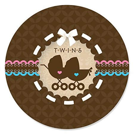 Twin Baby Carriages 1 Boy & 1 Girl - Baby Shower Circle Sticker Labels - 24 Count