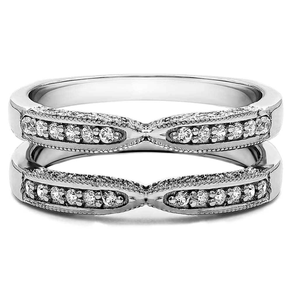 Sterling Silver 1ct Round Cubic Zirconia Solitaire Wedding Ring and Guard Set Sterling Silver, Size 9.5