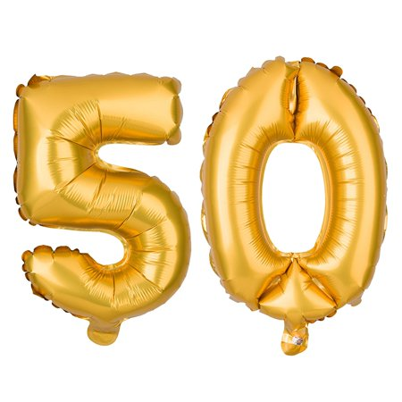 50 Large Number Balloons for Birthday or Anniversary Party Decorations (40 Inch, Gold) - Birthday Numbers
